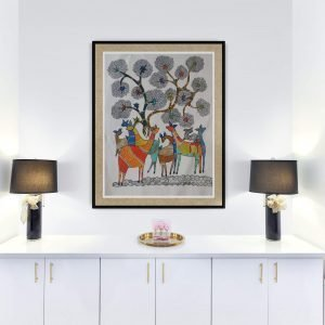 Deers under the tree- Gond Canvas Painting