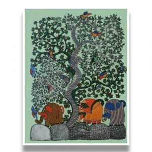 Elephants in the forest - Gond Canvas Painting