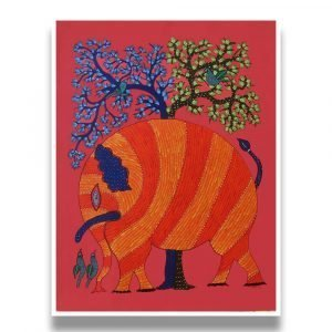 Red Elephant Gond Painting- Gond Canvas Painting