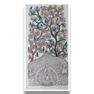 Peacocks and Birds Gond Painting - Gond Canvas Painting
