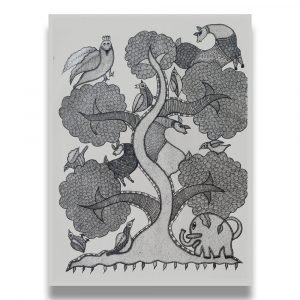 Tree Animals and Birds - Gond Canvas Painting