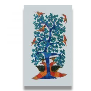 Two Peacocks- Gond Canvas Painting
