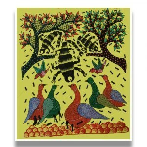 Birds and Ants in the Wild - Gond Canvas Painting