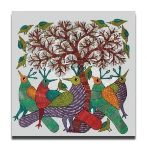 Brids Under Tree - Gond Canvas Painting