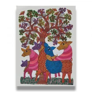 Deers Under the Tree - Gond Canvas Painting