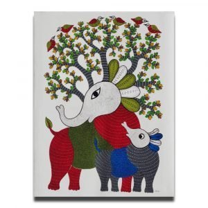 Elephant and Calf - Gond Canvas Painting