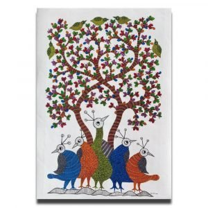 Five Birds Under the Tree - Gond Canvas Painting