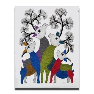 Group of Deer - Gond Canvas Painting