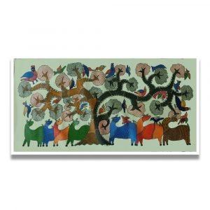 Group of Animals and Birds in Wild - Gond Canvas Painting