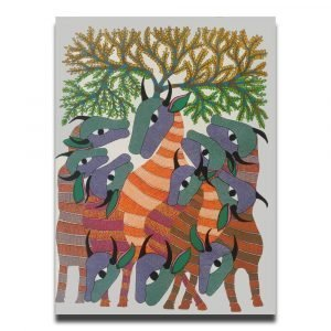 Group of Cows Under a Tree - Gond Canvas Painting