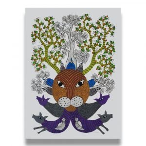 Lion Deer Trees - Gond Canvas Painting