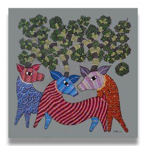 Three Deer - Gond Canvas Painting