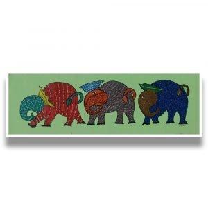 Three Elephants - Gond Canvas Painting