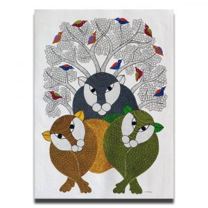 Three Tigers - Gond Canvas Painting