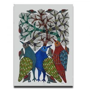 Three Birds - Gond Canvas Painting