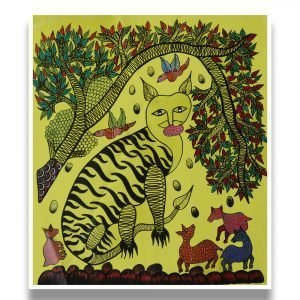 Tiger in the Wild - Gond Canvas Painting