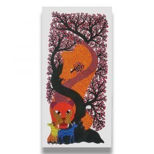Tiger Preying Deer - Gond Canvas Painting