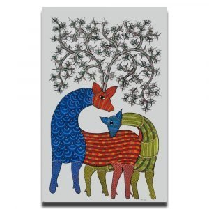Two Deer - Gond Canvas Painting