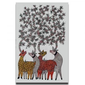 Four Deer - Gond Canvas Painting