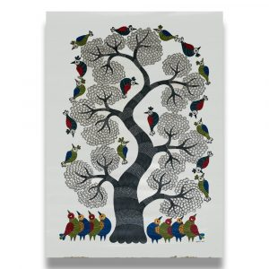 Birds under a tree Gond painting