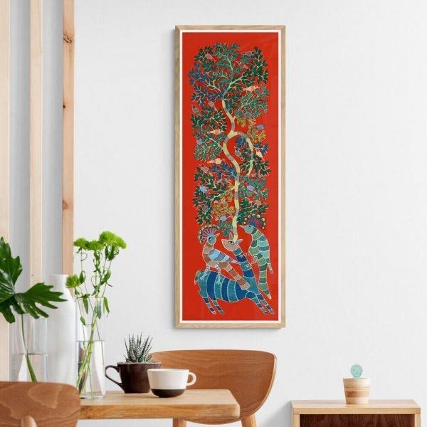 Deer and Peacocks Acrylic Painting