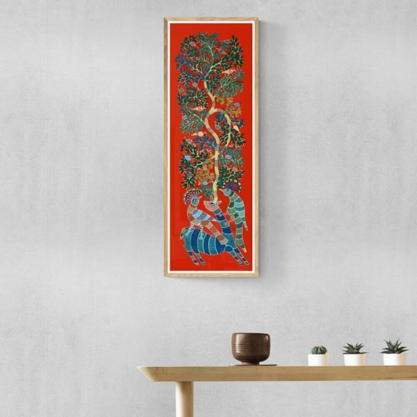 Deer and Peacocks Canvas Painting 2