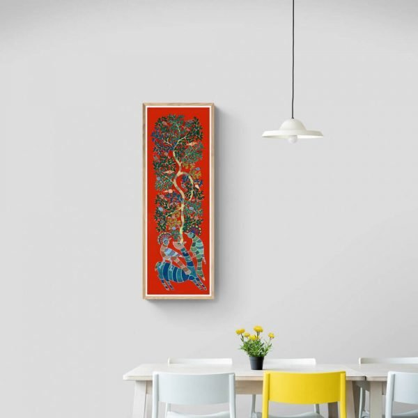 Deer and Peacocks Canvas Painting