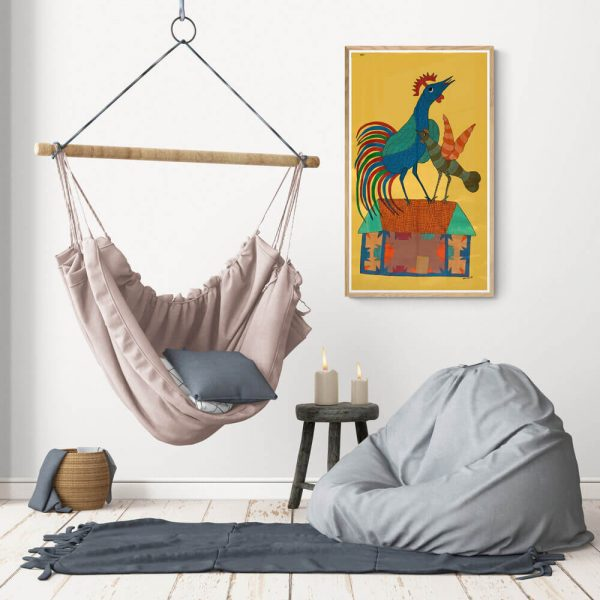Rooster and Hen on a house Canvas Painting 1