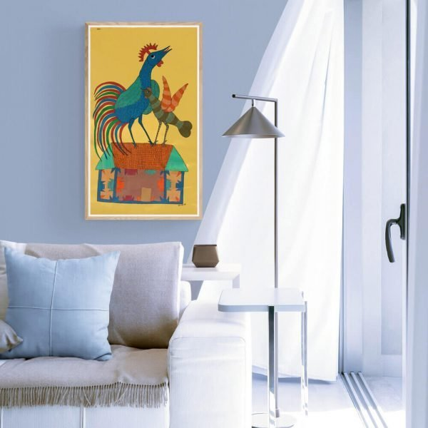Rooster and Hen on a house Canvas Painting