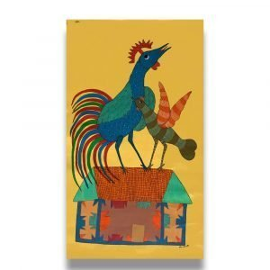 Rooster and Hen on a house Tribal Painting 1
