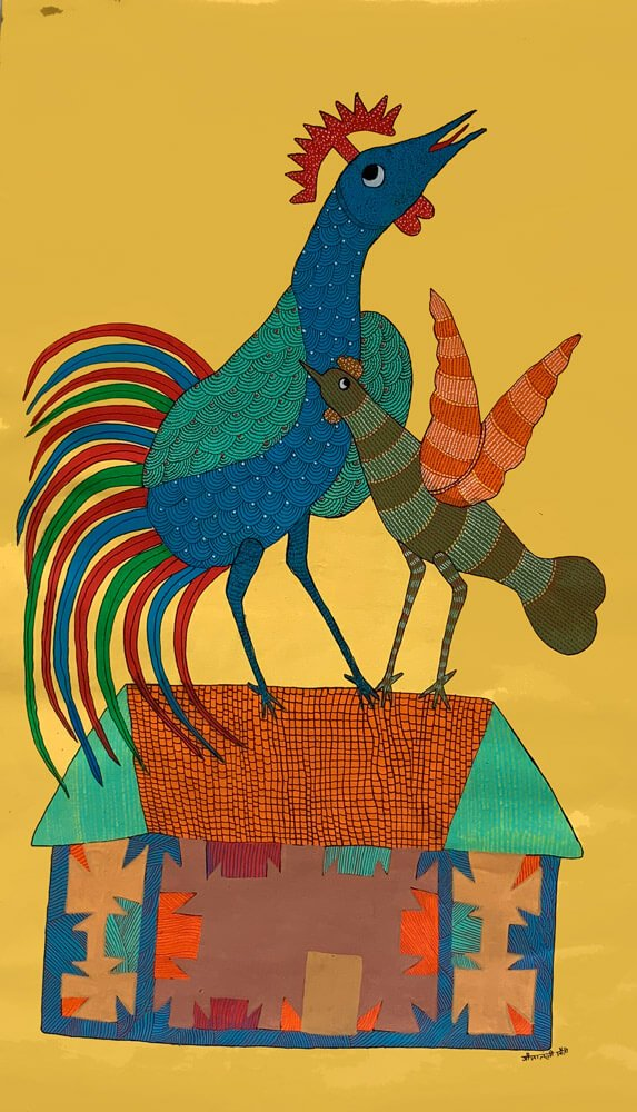Rooster and Hen on a house Wall Decor