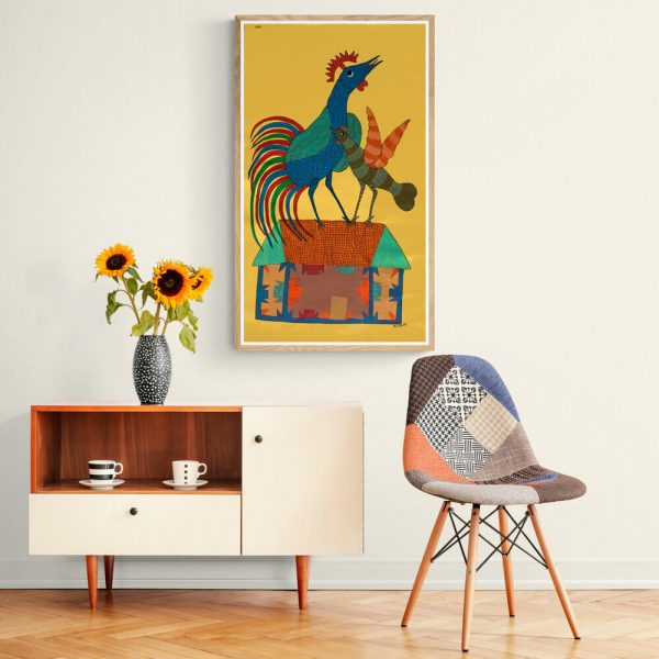 Rooster and Hen on ahouse Gond Painting