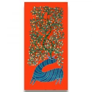 The Blue Deer Canvas Painting