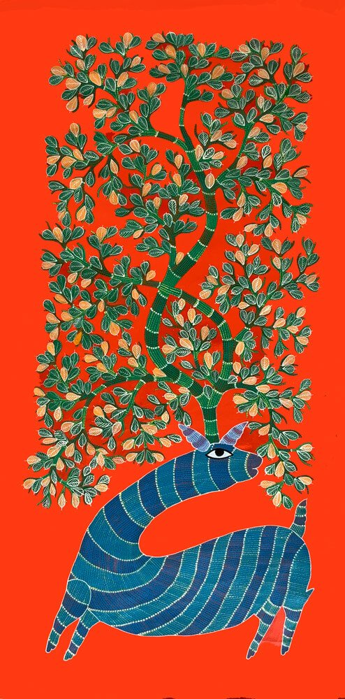The Blue Deer. Gond Painting