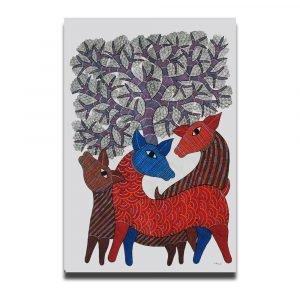 Three Deer acrylic painting 1