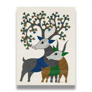 Two Deer tribal painting