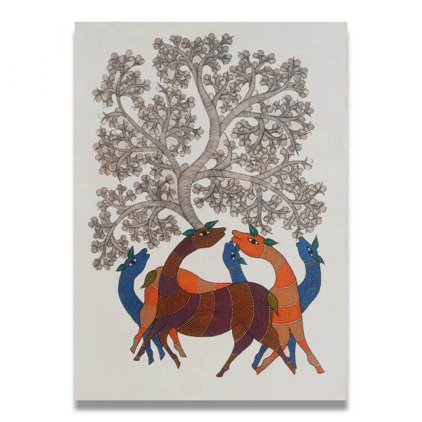 Deer-family-resting-under-a-tree-gond-art