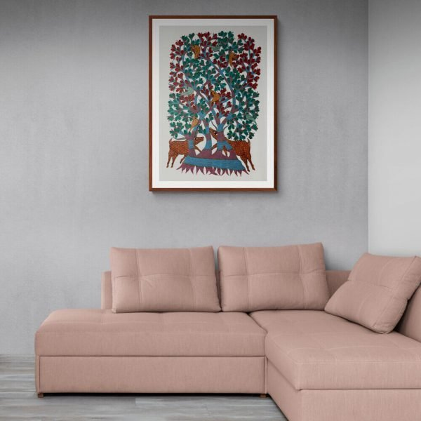 Animals under a tree Acrylic Painting
