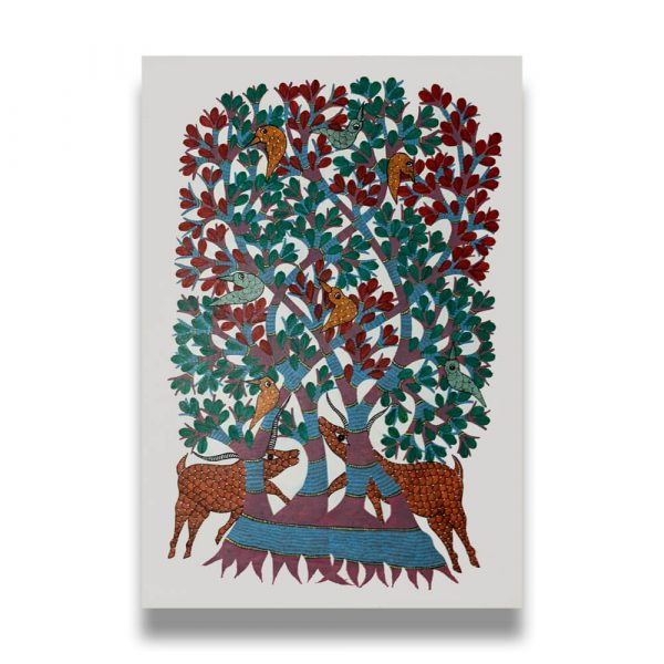 Animals under a tree Tribal Painting