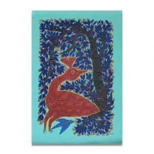 Bird in the forest Bhil Art