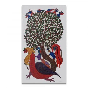 Bird surrounded by Wild animals gond art