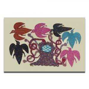 Birds and nest Bhil art