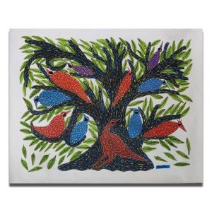 Birds resting on the branch bhil painting