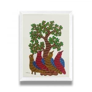 Birds resting under a tree framed painting