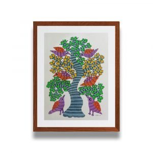 Colourful Birds Resting on a Tree Framed Painting