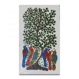 Colourful Birds and tree tribal painting