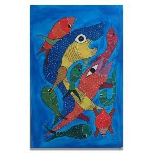 Colurful fishes gond art