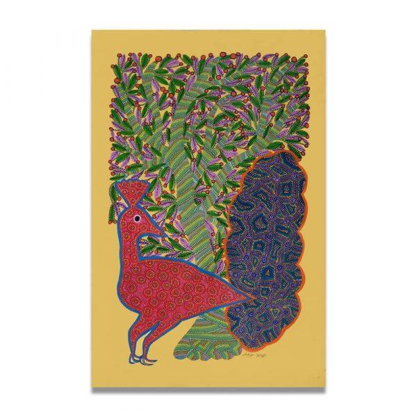 Dancing Peacock Bhil Art
