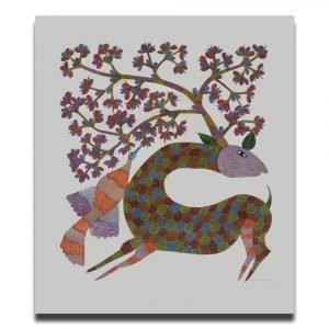 Deer Running in the Wild Tribal Art