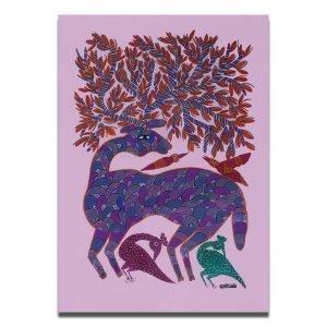 Deer and Birds Bhil Art